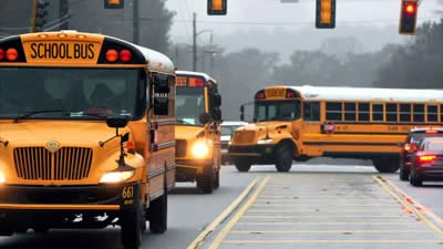 turning school buses